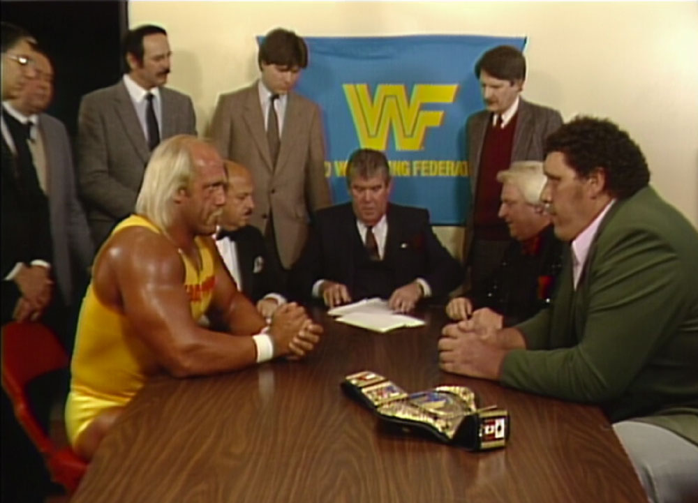 Hogan and Andre sign the contract for their Wrestlemania 3 match.