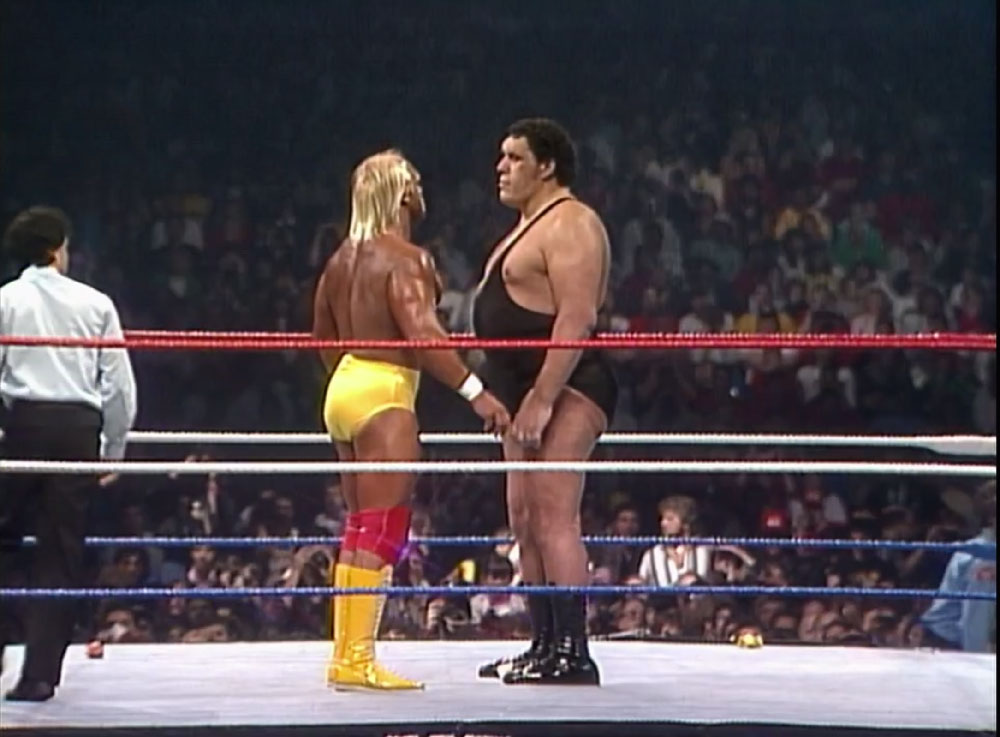 Hogan and Andre stare each other down.
