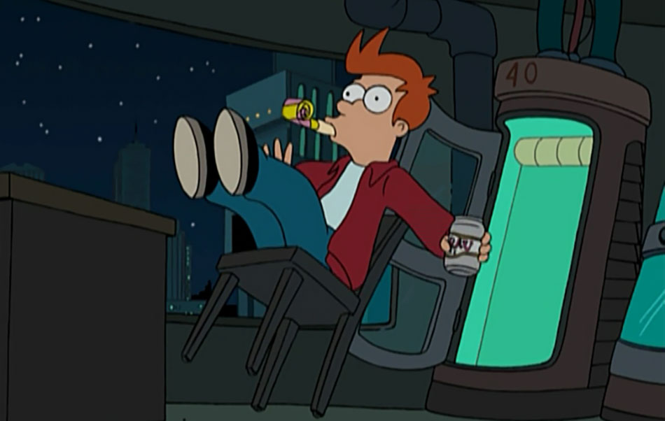 Futurama - Fry about to fall into cryo-chamber